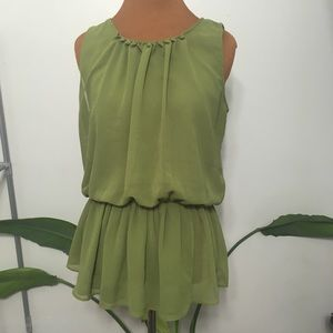 Hesperus olive green peplum tank blouse